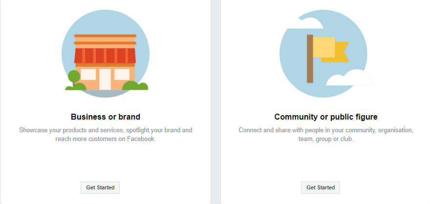 Facebook type of business page